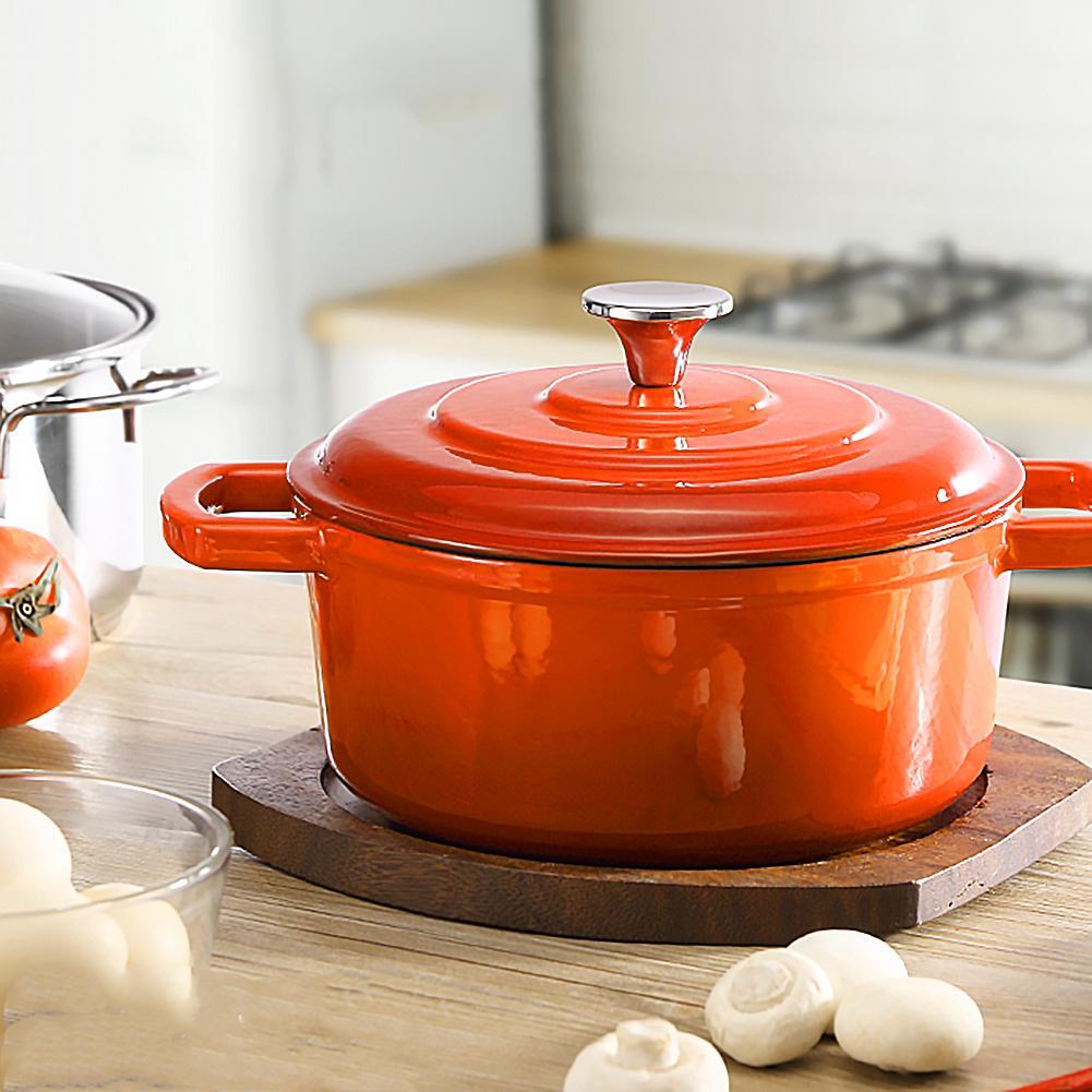 22cm olla de sopa de hierro fundido espesada antiadherente de hierro esmaltado olla de sopa olla de hierro fundido sopa de fideos herramienta de cocina