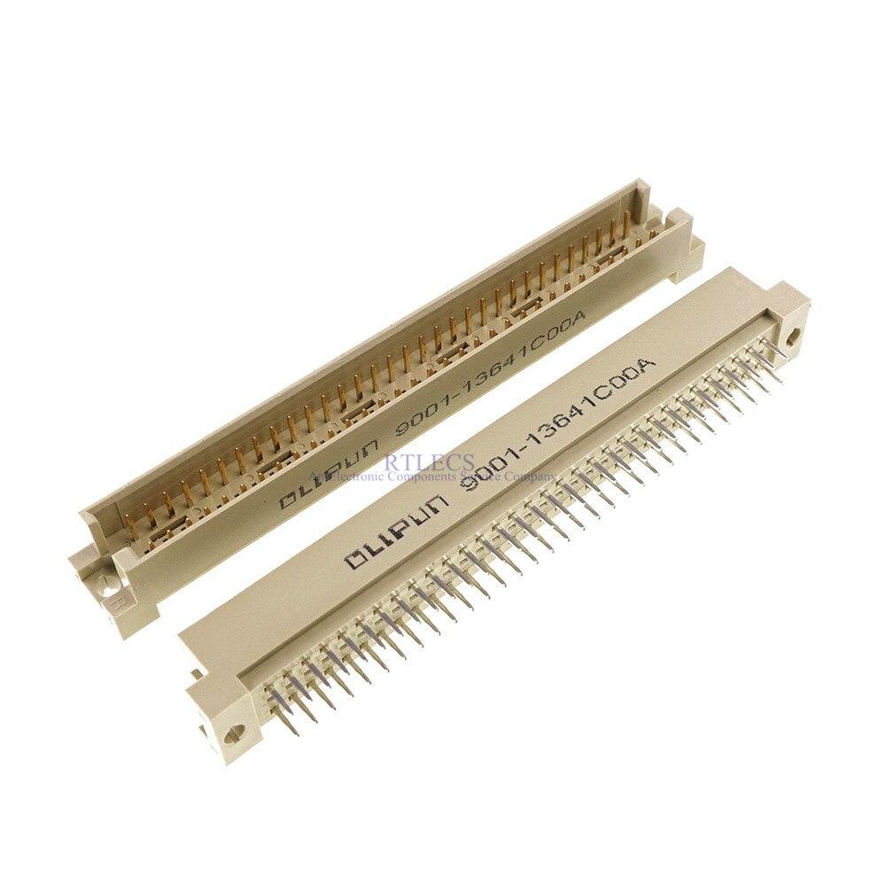 100 قطعة DIN 41612 موصل 2 صفوف 64 مواقف التوصيل رأس دبوس ذكر عمودي من خلال ثقب PCB 2X32 دبوس 2.54 مللي متر x 5.08 مللي متر
