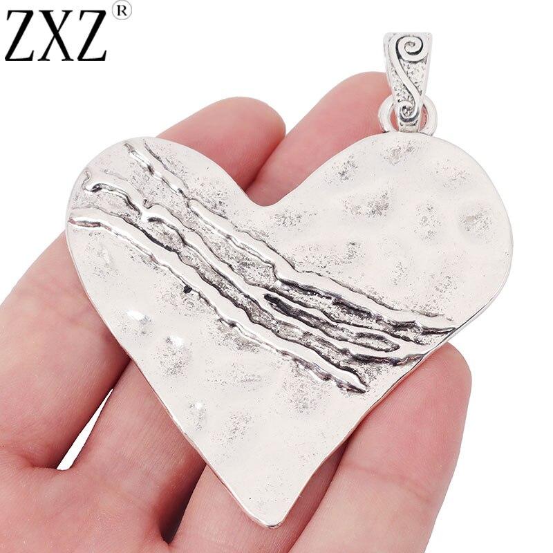 Zxz 2 pçs grande martelado coração forma encantos pingentes para colar jóias fazendo descobertas 82x64mm
