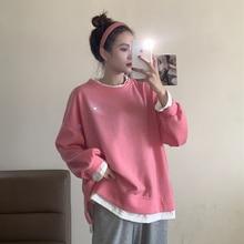 Women's Sweatshirts Hoodless Women's Loose Korean Version Autumn And Winter 2021 New Fake Two Piece