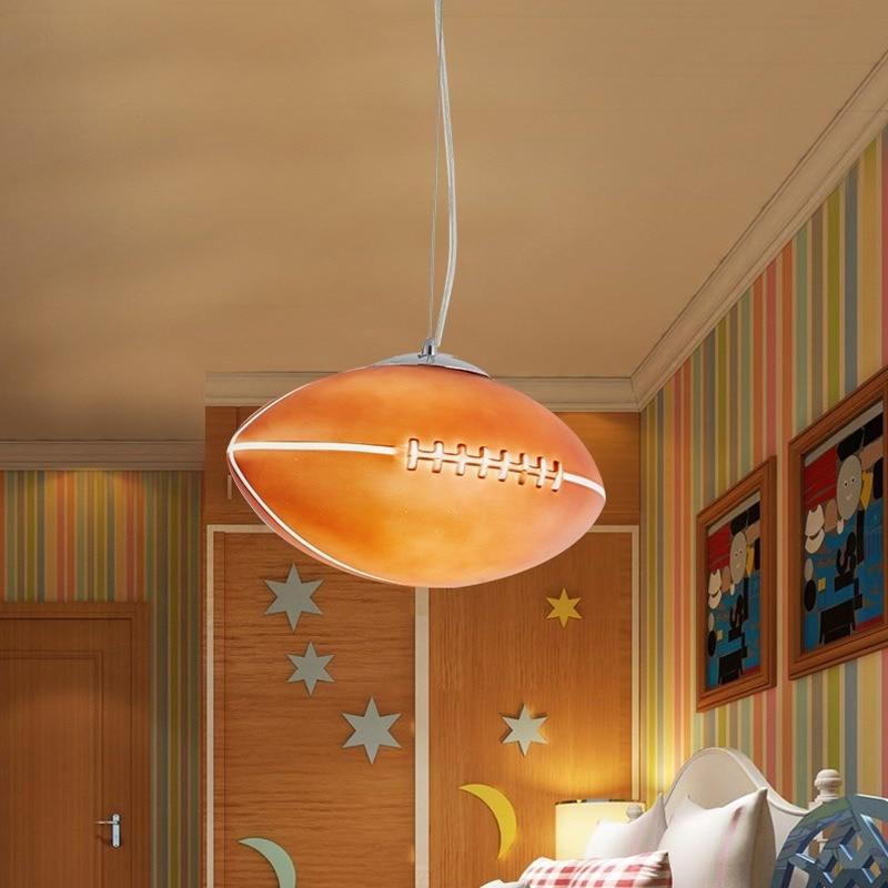 غرفة الأطفال LED الرجبي الثريا الصبي الإبداعية الكرتون مصباح غرفة نوم الثريا كرة القدم دراسة موضوع الثريا E27