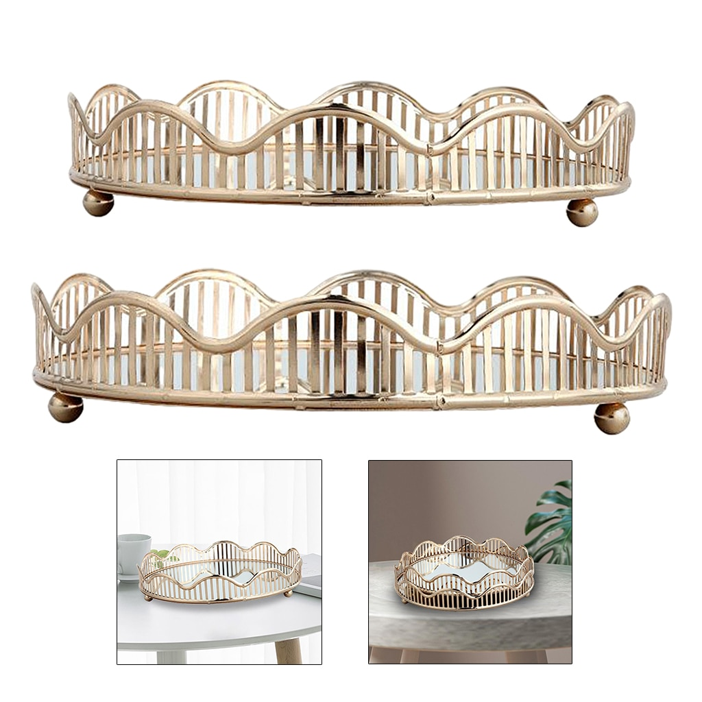 Storage Tray Cosmetic Tray Storage Plates Perfume Plate Countertop Organizer  - buy with discount