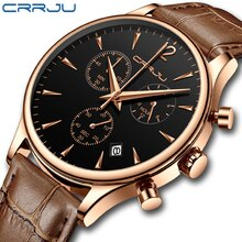 CRRJU Mens Watches Gift Top Luxury Brand Waterproof Sport Watch Chronograph Quartz Military Genuine