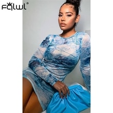FQLWL Print Sexy Bodycon Mesh Dress Women Long Sleeve O Neck Mini Wrap Summer Dress Pencil Club Party Short Ladies Dress Vestido