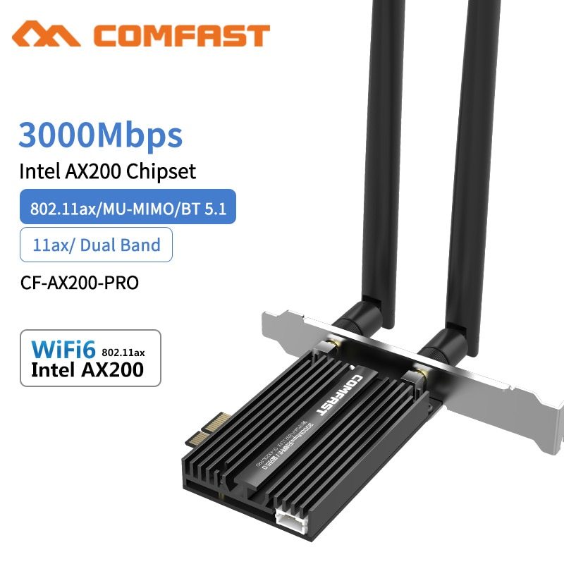 3000Mbps Dual Band Wireless Desktop PCIe For Intel AX200 Pro Card 802.11ax 2.4G/5Ghz Bluetooth 5.1 PCI Express WiFi 6 E Adapter