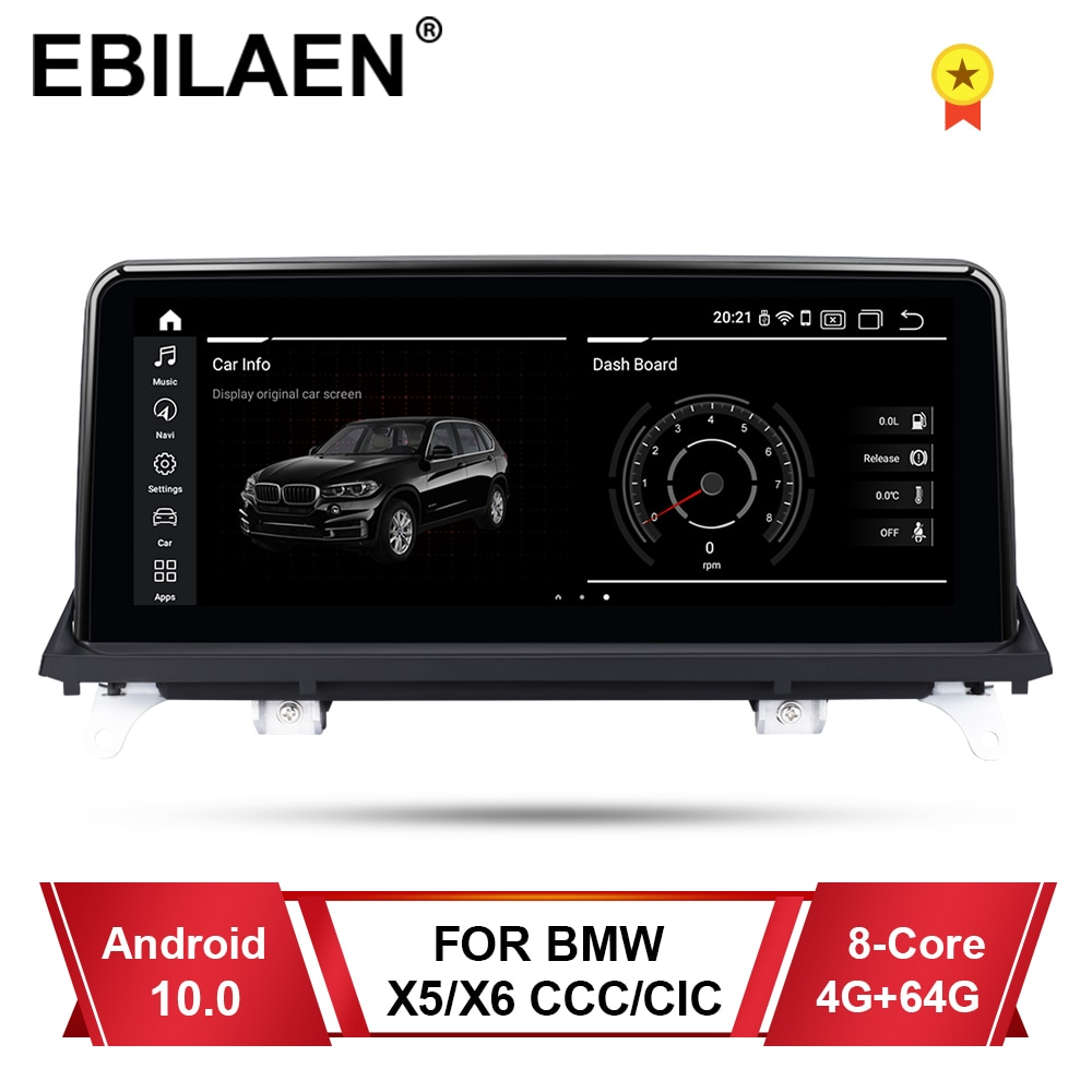 EBILAEN Android 10,0 reproductor Multimedia para auto BMW X5 E70/X6 E71 (2007-2013)/CCC/CIC...