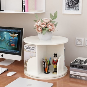 Bookshelf Creative Simple 360 Rotate Desktop Bookcase Children Book Rack Home Furniture Office Storage Rack Wooden Display Shelf