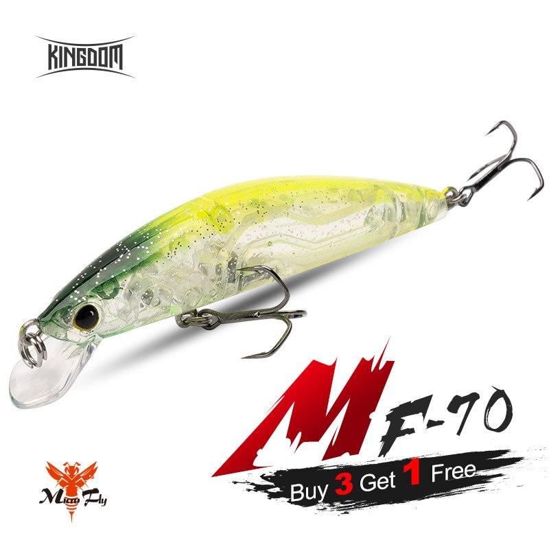 Kingdom MF-70 Señuelos de Pesca 70mm 6g pececillo flotante Wobblers buena acción agua dulce cebos duros especies de peces para trucha Lucio