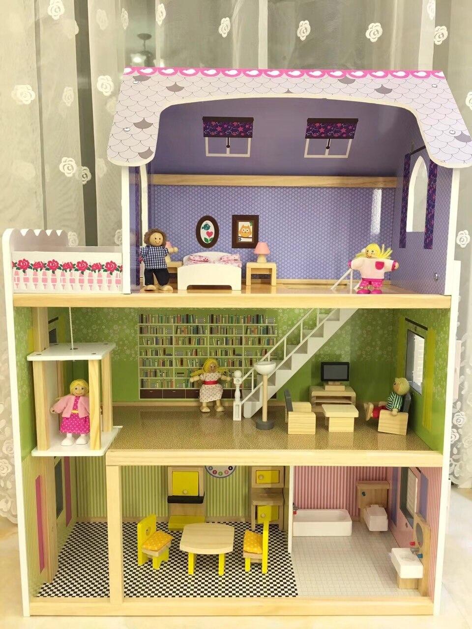 Деревянный кукольный домик «сделай сам», миниатюрный кукольный домик, комплект мебели, музыкальные игрушки для детей, подарок на день рожде...