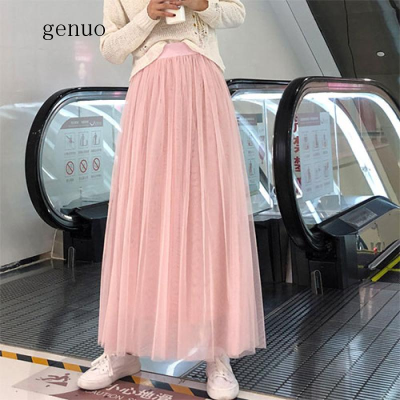 98cm maxi tule saia feminina fahion 2020 primavera verão tornozelo comprimento cintura alta plissado longo malha saia feminino rosa cinza