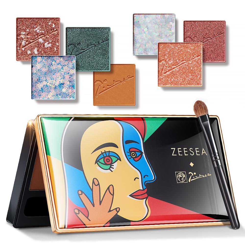 Палитра теней для век ZEESEA, 7 цветов, пигментированный блеск, матовый водонепроницаемый макияж, глазурованная косметика