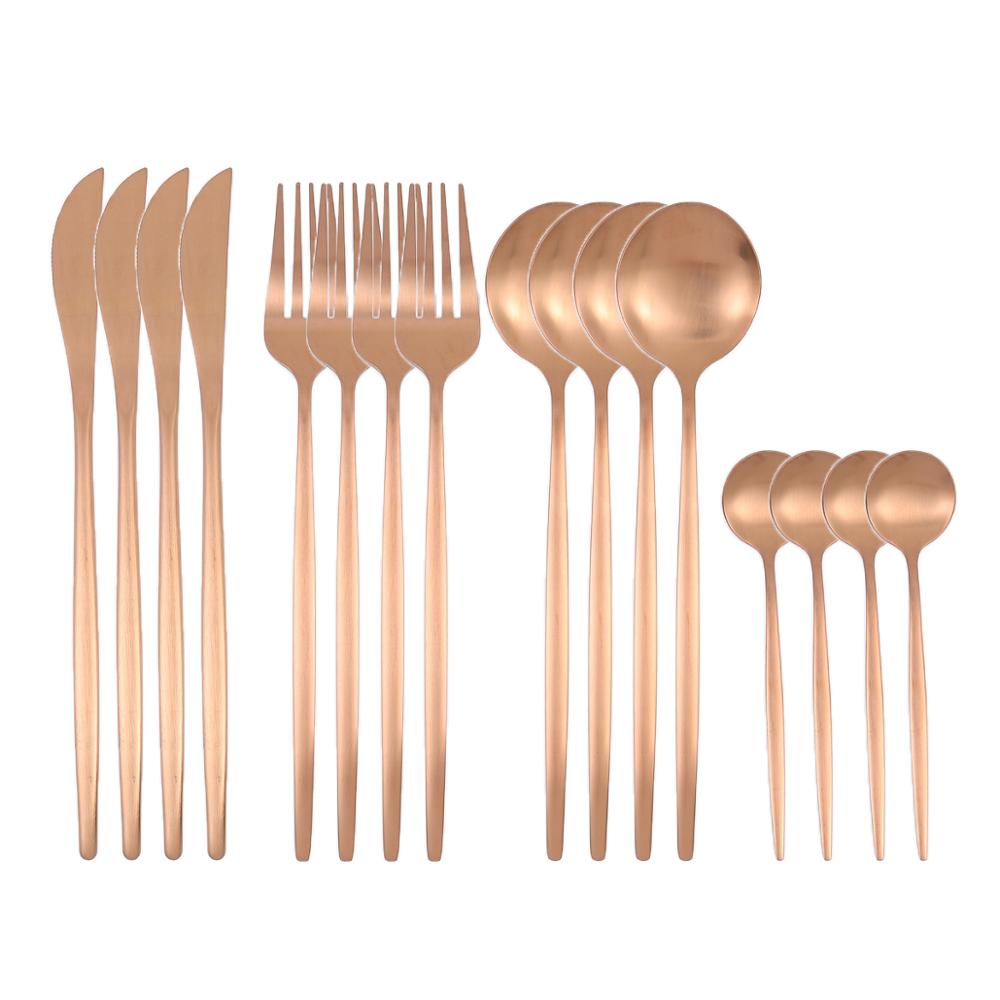 16Pcs Gold Matte Dinnerware Set 304 Stainless Steel Cutlery Set Dinner Knife Fork Spoon Kitchen Silverware Set Tableware Supply 24pcs matte stainless steel cutlery set dinnerware set black gold knife fork spoon silverware kitchen party dinner tableware set
