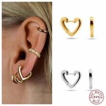 CANNER 100% 925 boucles doreilles en argent Sterling pour femmes européen américain en forme de coeur cercle rond Piercing boucles doreilles bijoux