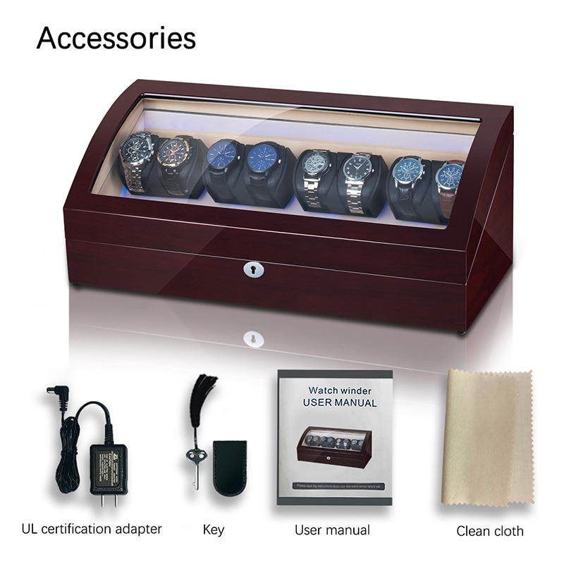 8+8 Automatic Watch Winder Box PU Leather Watch Winding Winder Storage Watch Box Collection Display Japanese Motor LED Light enlarge