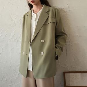 Korean Style Commuter Fashion Light Green Ladies Blazer, Casual Loose Double-Breasted Coat, Business Outerwear Jacket, Blazer