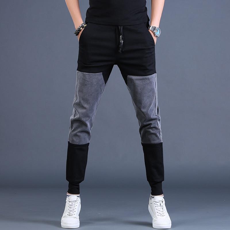 Мужские брюки, уличная одежда, джоггеры, модные брюки в стиле хип-хоп пэчворк, Спортивные Повседневные контрастные спортивные брюки