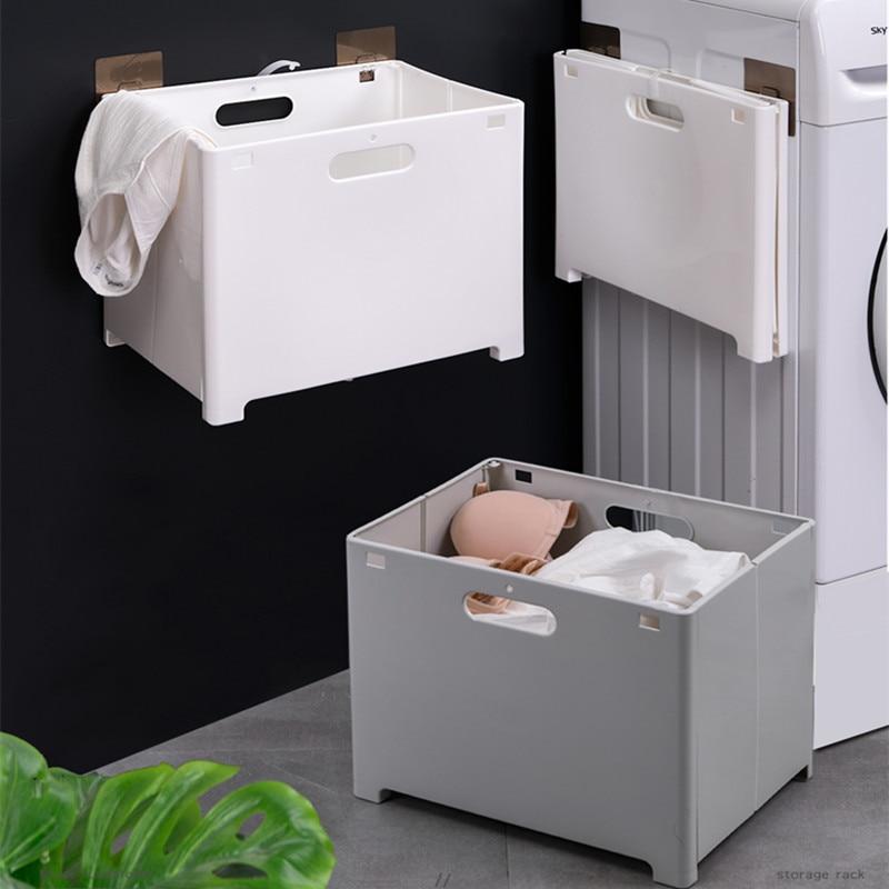 Dobrável fixado na parede cesta de lavanderia cesta de plástico cesta de roupas sujas do banheiro nenhum traço punch-livre organizador para a lavanderia