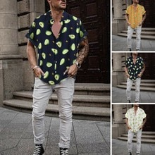Man Shirt Turn Down Collar Short Sleeve Avocado Print Slim Fit man Casual Shirt Fashion Men Printed Shirts Camisa Plus Size