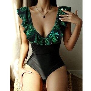 2021 New Sexy Ruffle One Piece Swimsuit Women Leaf Print Swimwear Female Deep V Bathing Suits Summer Beach Wear Monokini Bather