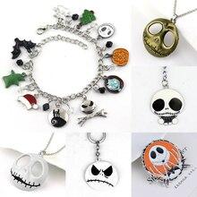Fashion The Nightmare Before Christmas Halloween Jack Skellington Sally Snowflakes Skull Pumpkin Charm Bracelet