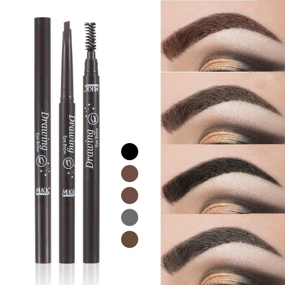 Lápiz potenciador de cejas de dos cabezas de 5 colores duradero, resistente al agua, despegable, tinte de dibujo, maquillaje de ojos, herramientas cosmética ceja