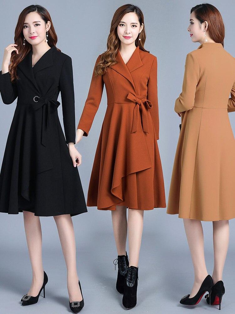 Kmeter سترة للربيع والخريف المرأة خندق معطف الإناث سترة أنيقة طويلة معاطف و سترة المرأة الكورية أبلى Manteau فام بلدي