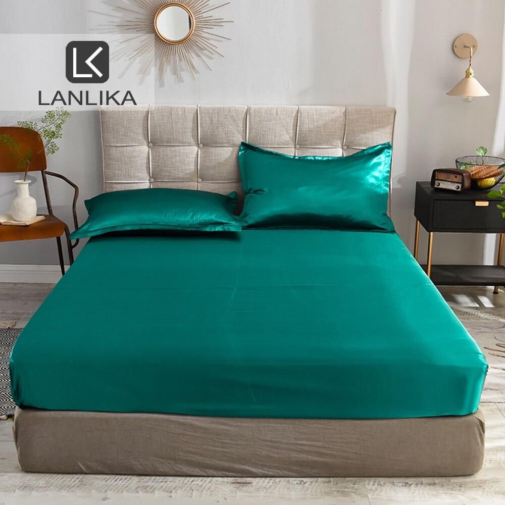 Lanlika-drap-housse en soie   1 pièce, drap-housse en soie vert teinté, bande élastique, drap de lit imprimé, pour femmes et hommes