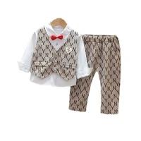 new spring autumn fashion baby boys clothes suit children vest shirt pants 3pcssets toddler gentleman clothing kids tracksuits
