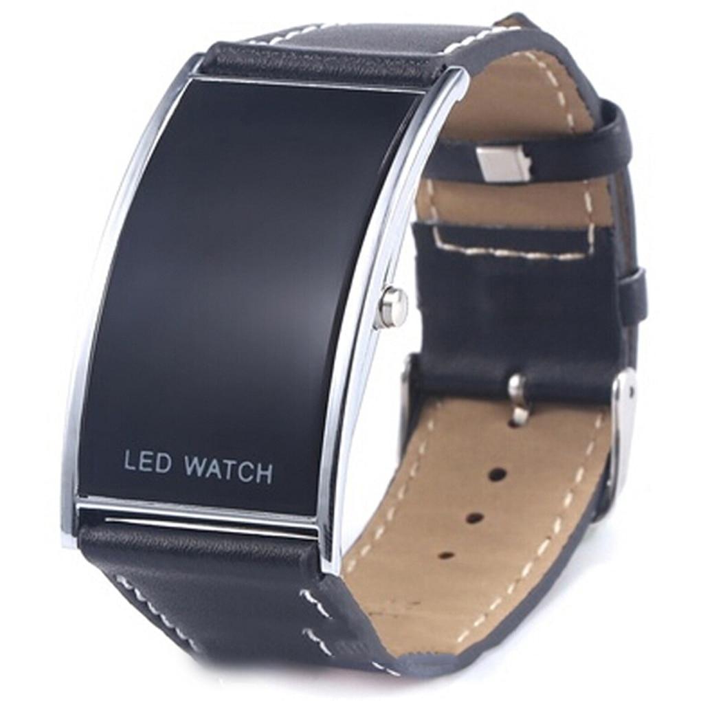 Black Bridge Shape Led Digital Wrist Watch Couple Style Adjustable Band Waterproof Wristwatch