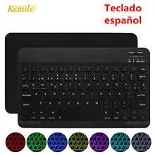 Ультра тонкая беспроводная Bluetooth испанская клавиатура для IOS Android планшет клавиатура ПК Windows для iPad Bluetooth испанская Teclado
