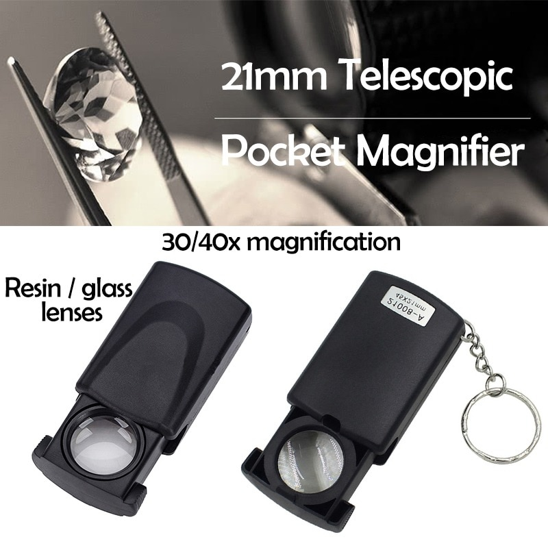 30X Folding Portable Magnifier Glass With LED Light for Jewelry Watch Retractable Antique Magnifying
