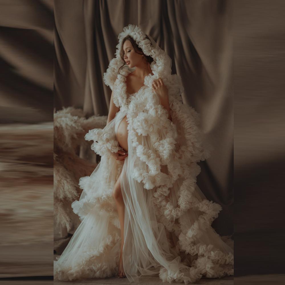 فستان زفاف تول فاخر ، مصنوع حسب الطلب ، طويل نقي ، للنساء ، فساتين الأمومة ، فستان تول مكشكش لالتقاط الصور