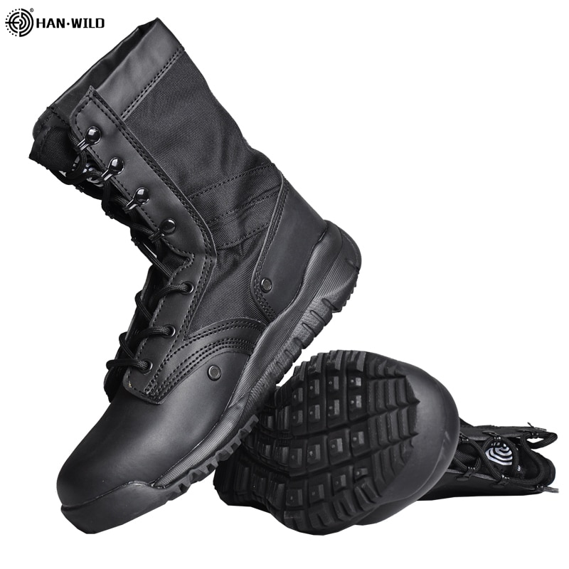 HAN WILD Tactical Military Boots Men Boots Special Force Desert Combat Army Boots Outdoor Hiking Boots Ankle Shoes Safty Shoes men desert tactical military boots mens work safty shoes special force waterproof army boot lace up combat ankle boots