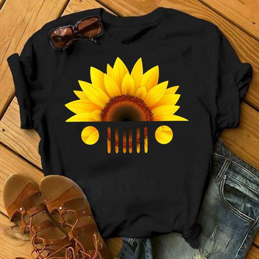 Camiseta estampada con diseño de cesta de girasoles vivos para mujer, camiseta...