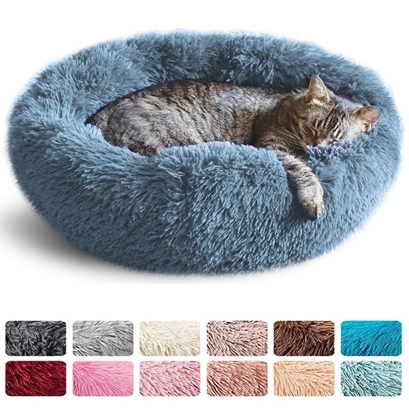 Cama redonda para gatos, caseta para mascotas, alfombrilla de felpa suave y...