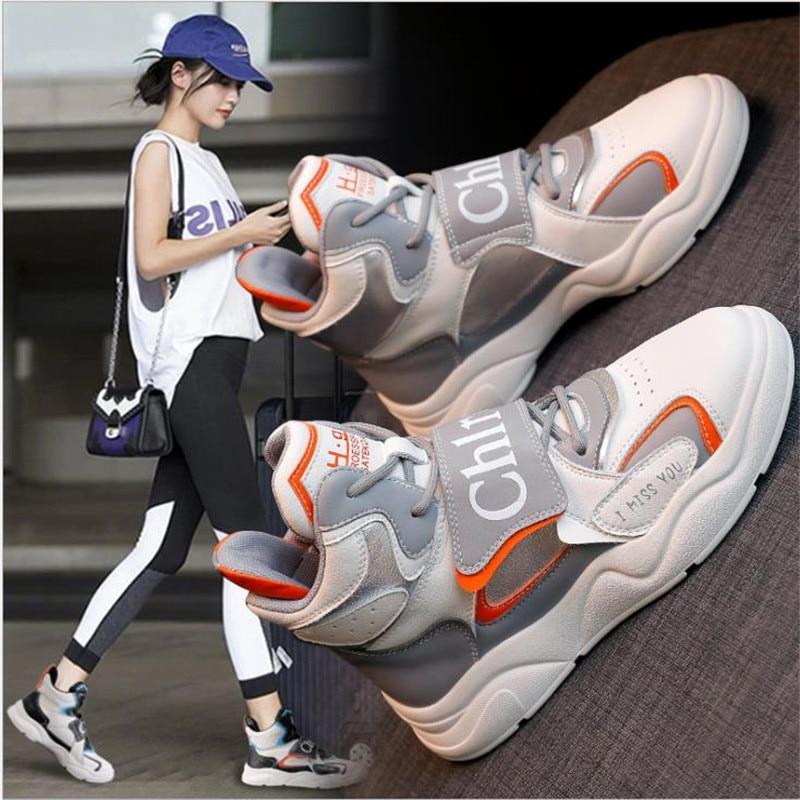 عالية أعلى الأحذية النسائية الخريف والشتاء أفخم سميكة سوليد جلد طبيعي موضة الترفيه طالب أحذية رياضية