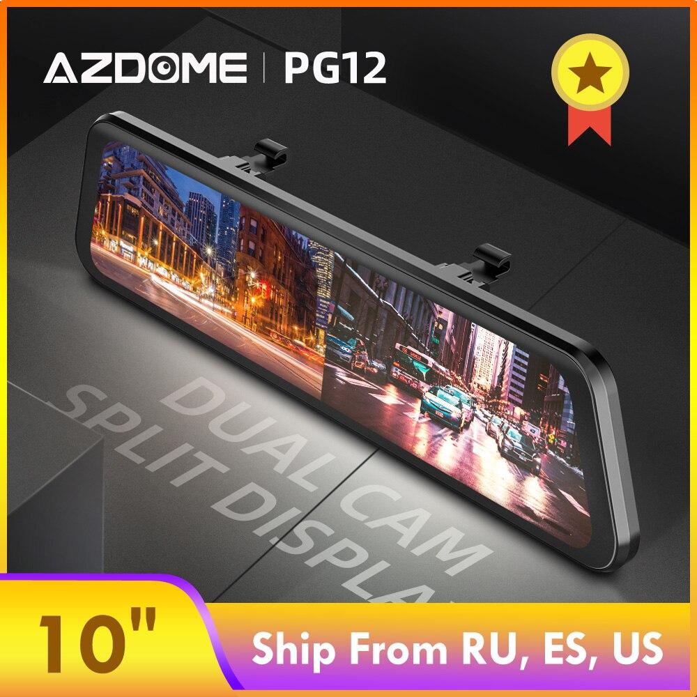 "AZDOME Car dvr PG12 Dual Lens Rear View Camera 10"" Full-Screen Touching 1296P Dash Cam Streaming Media Night Vision Dash camera"
