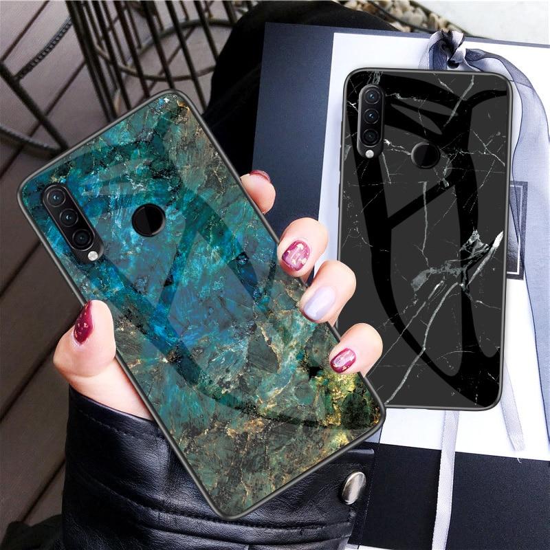Funda de teléfono para Lenovo Z6 Lite funda de mármol de vidrio templado Marco de silicona suave a prueba de golpes funda Qoque Fanda para Lenovo L3811 cubierta