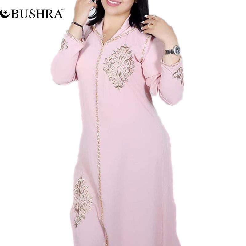 BUSHRA عباية إسلامية عصرية بألوان سادة فستان فضفاض غير رسمي للنساء بقلنسوة مطرز بأكمام طويلة وبساطة 2021 قفطان جيلابا
