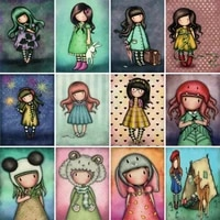 diy diamond painting cartoon girl picture full drill square round diamond embroidery cross stitch gift kits wall home decor