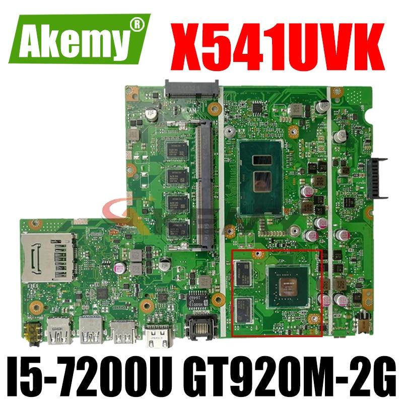 Akemy X541UVK اللوحة الأم لأجهزة الكمبيوتر المحمول ASUS X541UJ X541UV اللوحة الرئيسية الأصلية 4GB-RAM I5-7200U GT920M-2G