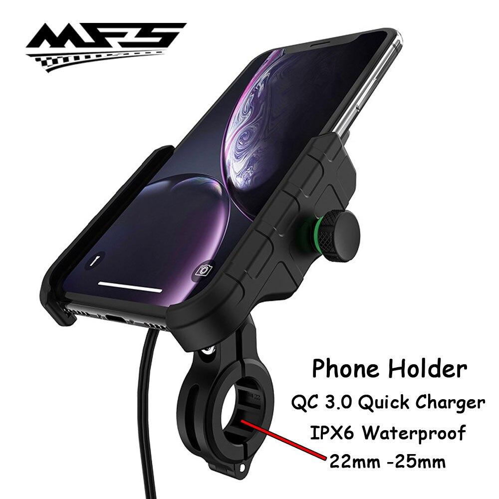 Soporte para teléfono de motocicleta espejo trasero con USB QC3.0 soporte de carga rápida manillar para KTM Honda Yamaha Kawasaki Suzuki Ducati