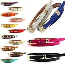 1PCS Women's Fashion Candy Color Solid Color Faux Leather Buckle Skinny Belt Thin Waistband Sash Apparel Accessories