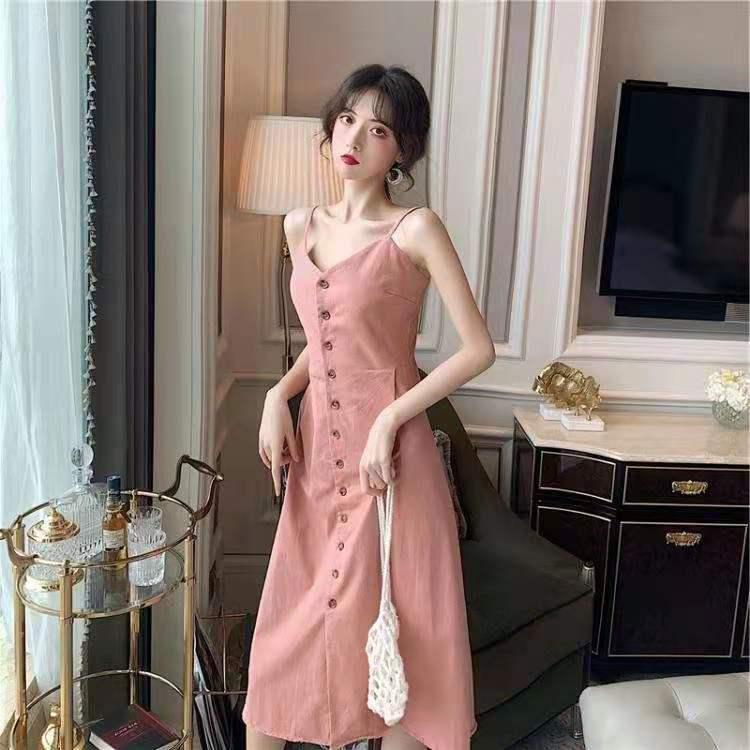 CMAZ Strap Dresses For Women Summer 2021 Korean Style V-neck Sexy Soild Color Midi Silm Hot Girls Party Dress Female Vestidos