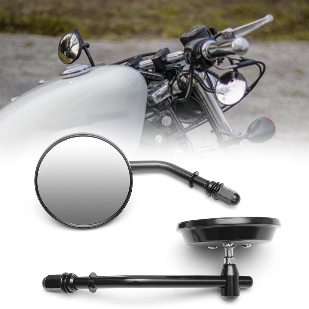 8 مللي متر الأسود/كروم دراجة نارية مرآة قصيرة الجذعية 3