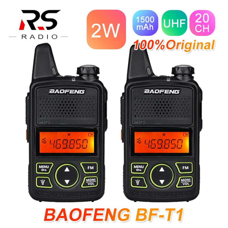 2 pçs baofeng BF-T1 mini walkie talkie crianças estação de rádio uhf hf transceptor ham rádio amador transmissor woki toki usb bf t1