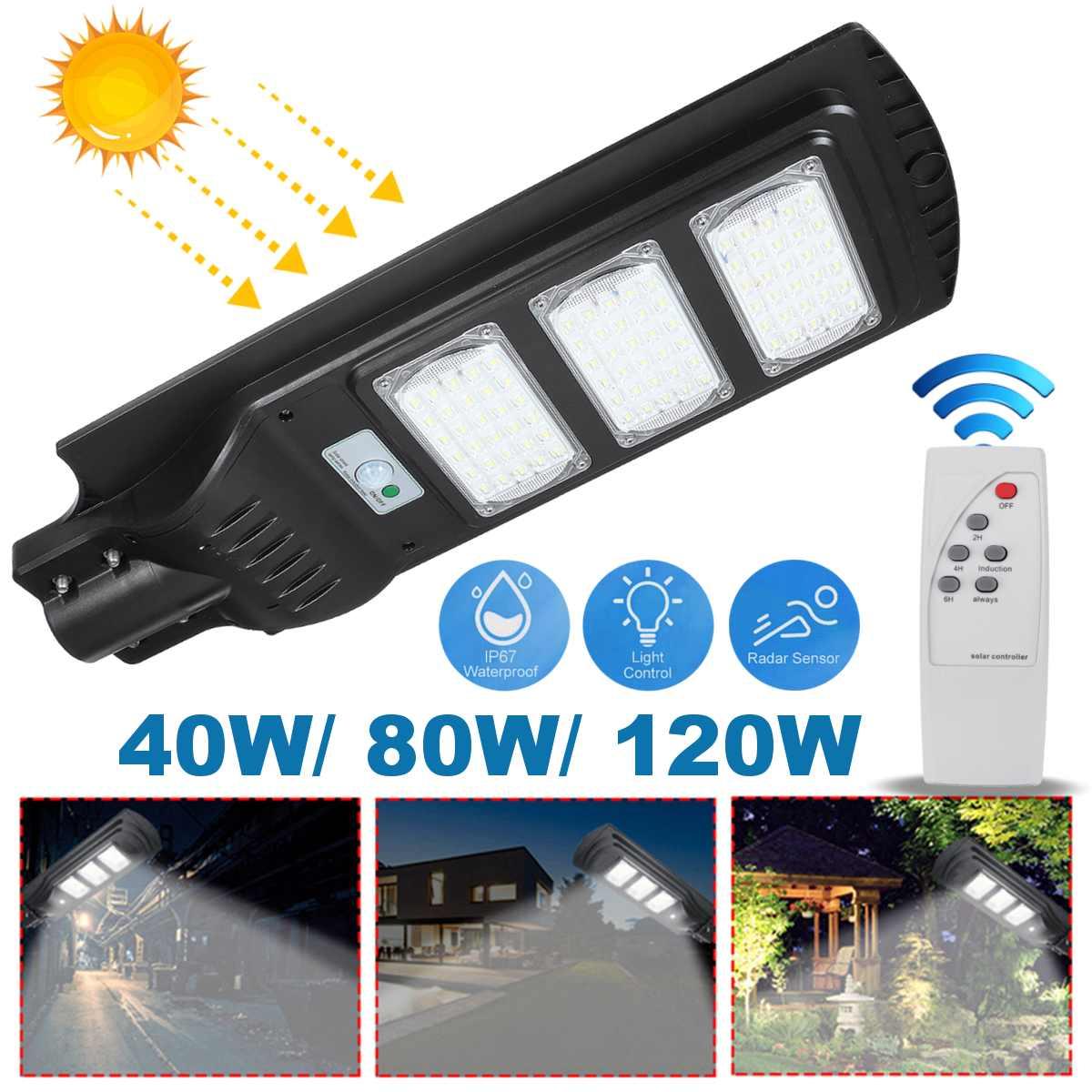 الطاقة الشمسية ضوء الشارع PIR مصباح لجهاز الاستشعار التحكم عن حديقة ساحة الطريق إضاءة آمنة في الهواء الطلق مصابيح الحائط 120 واط 21000 التجويف 90 LED