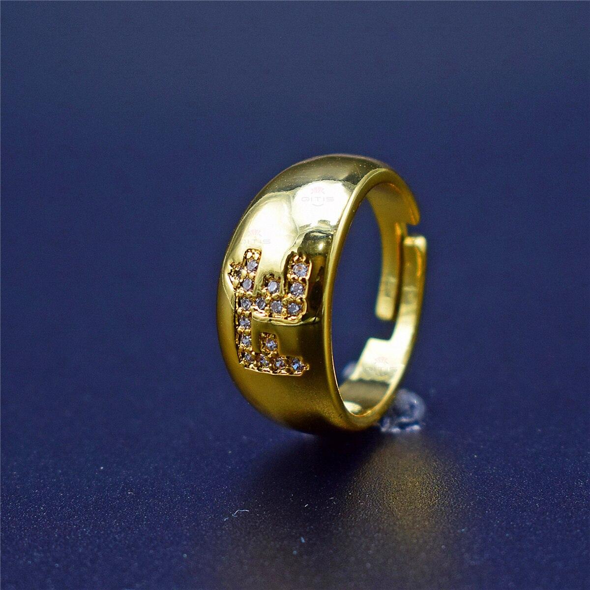 Popular Gold Faith FE Letter Shape Finger Rings for Women, White Clear CZ Zircon Jewelry Gift