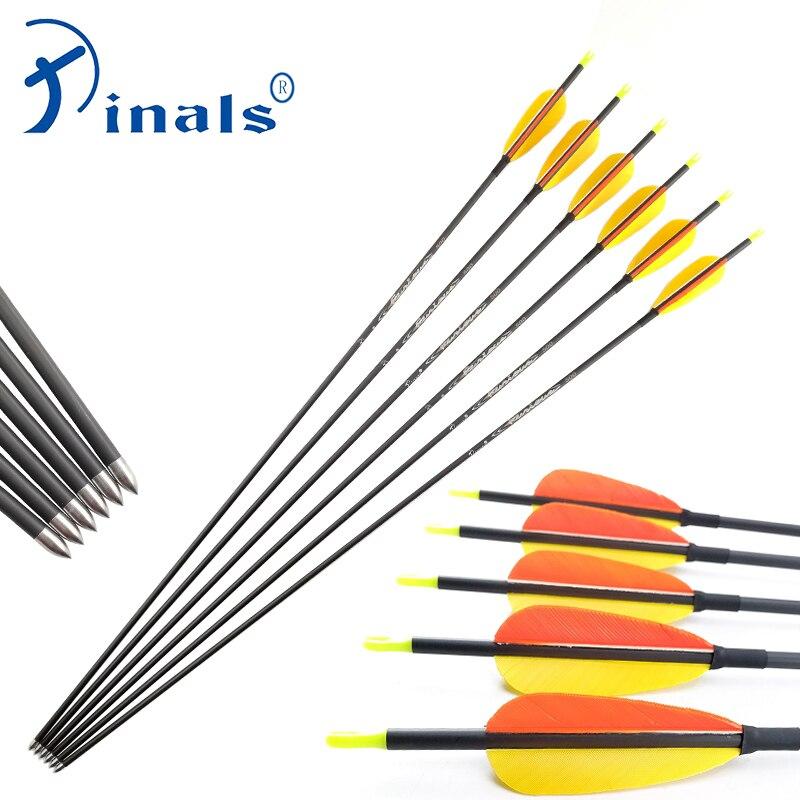 Pinals tiro con arco ID4.2 flechas de carbono de la columna 400, 500, 600, 700, 800, 900, 1000, compuesto arcos arco recurvo arco blanco de disparo para caza 12 Uds