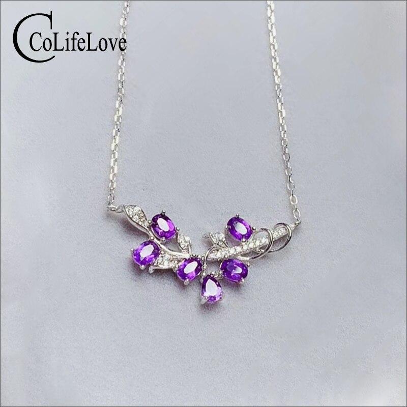 CoLife Jewelry moda 925 Collar de plata para fiesta 6 piezas collar de amatista Natural joyas de piedras preciosas de plata